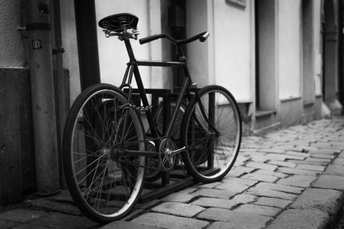 Old School City Bike Locked up in the Street - free  images to use -