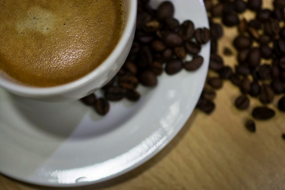 Black coffee and coffee beans