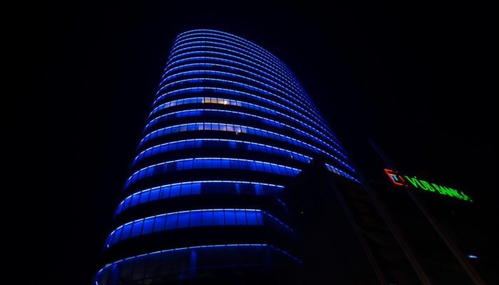 Building with blue light