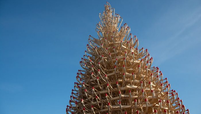 Christmas tree made from sleighs