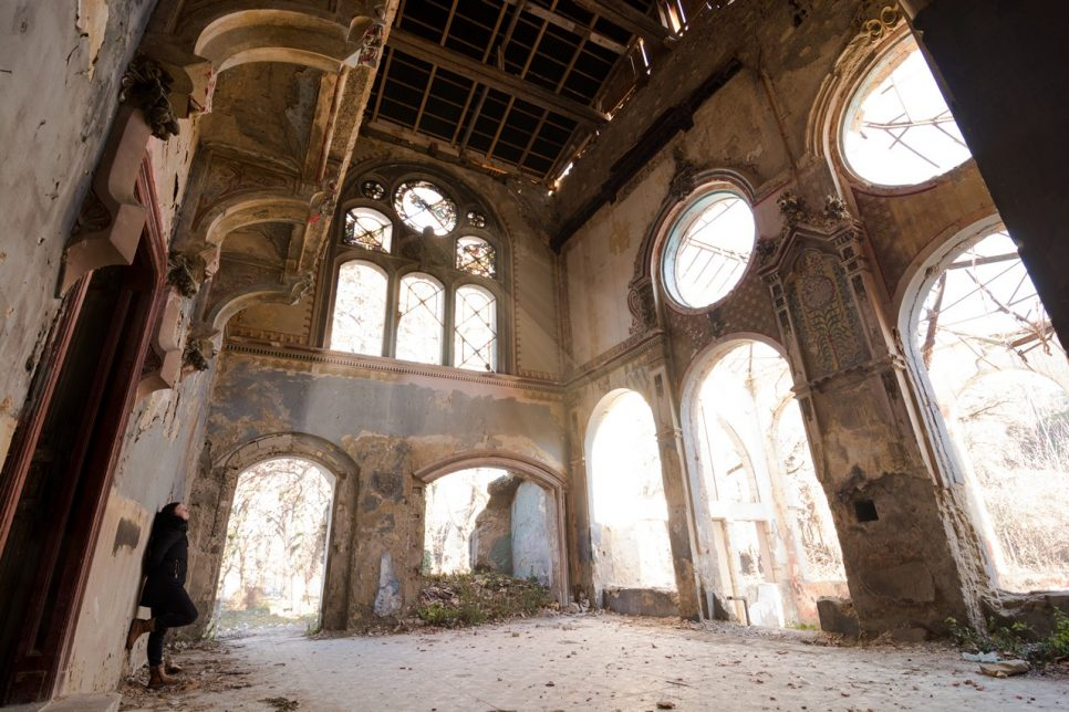 The girl at old abandoned mansion