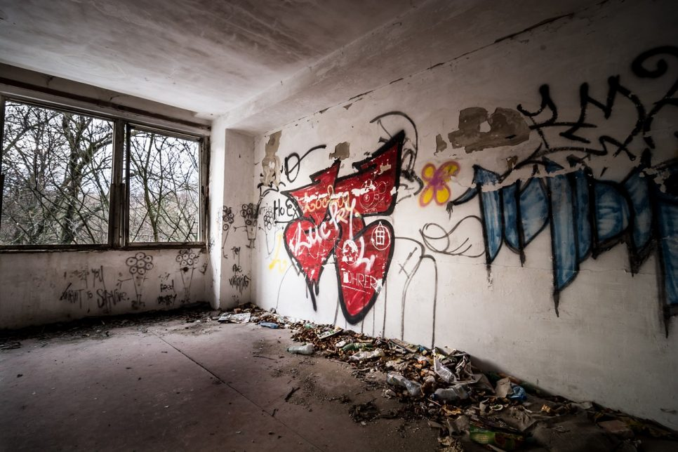 Abandoned building graffiti wall