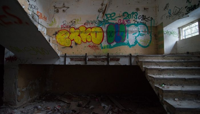 The stairs at old abandoned place
