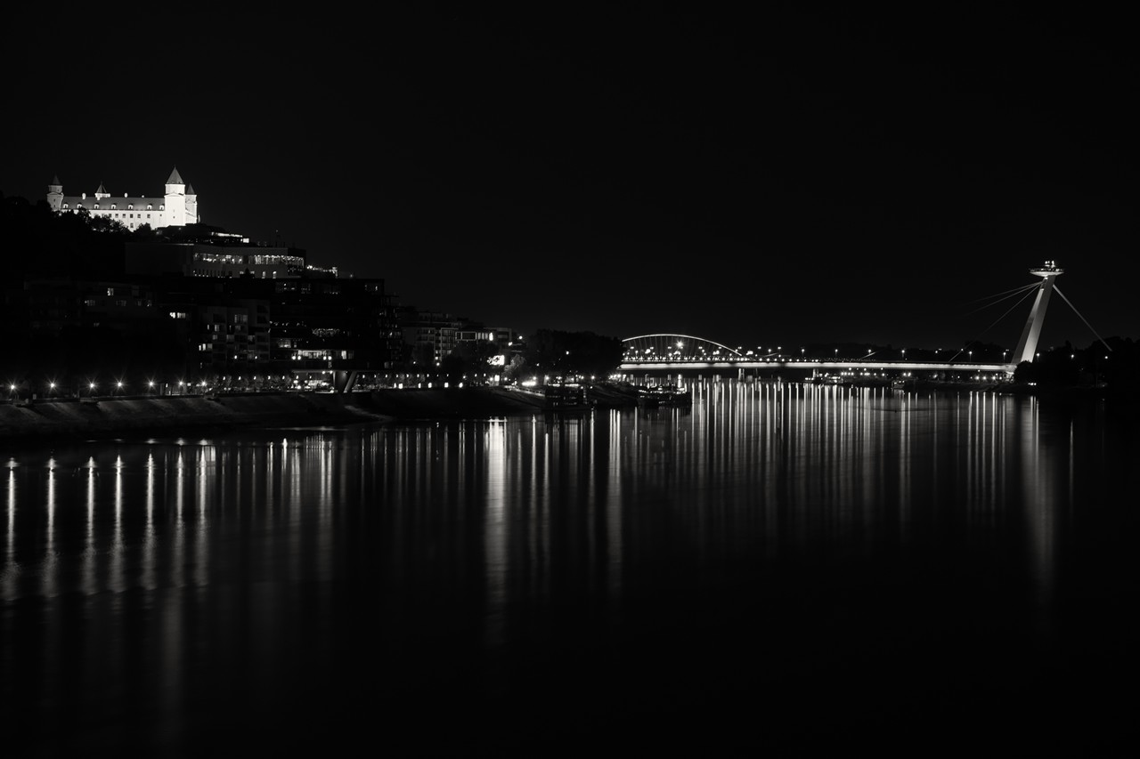 Night time in the city #2 (dark sepia edit) - free architecture images to use - night shots, cityscapes, bratislava, blackandwhite, b&w