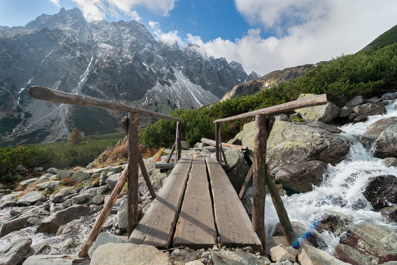 Wooden Bridge in the High Mountains - free nature images to use - mountains, landscape, high tatras
