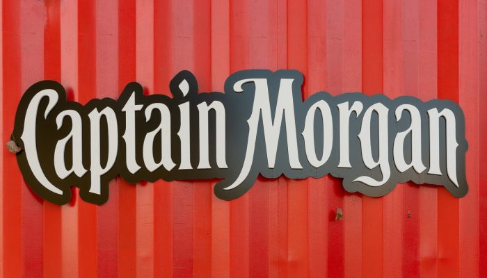 Captain Morgan logo on the red container