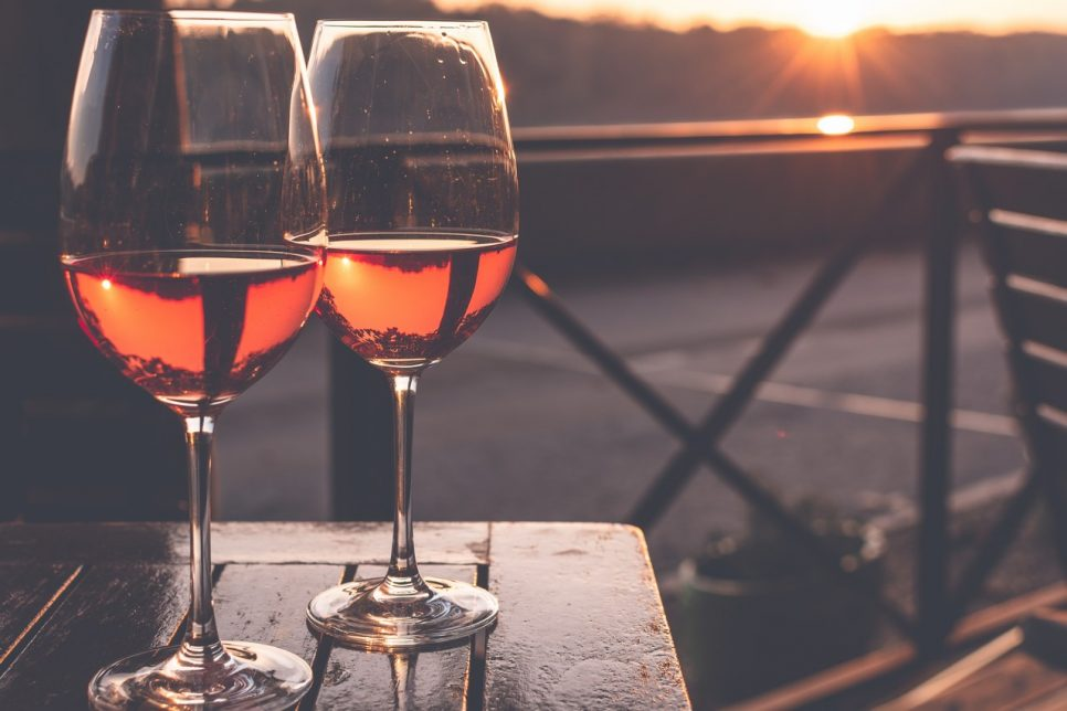 Two Glass of Vine in the Sunset